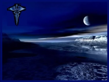 Dark Beach Scene with Caduceus_Blue_Framed