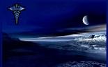 Dark Beach Scene with Caduceus_Blue_Framed_155x97px